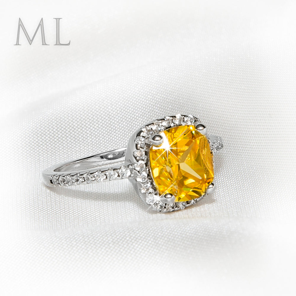 2.00 CT Womens Yellow Solitaire Halo Engagement RING CUSHION CUT Plated SIZE 6-9