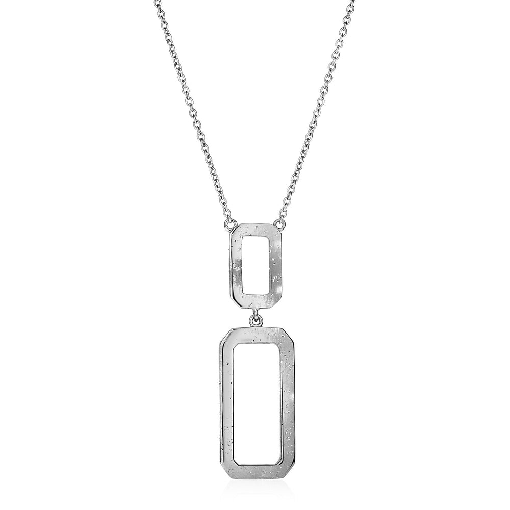 Necklace with Interlocking Rectangles in Sterling Silver