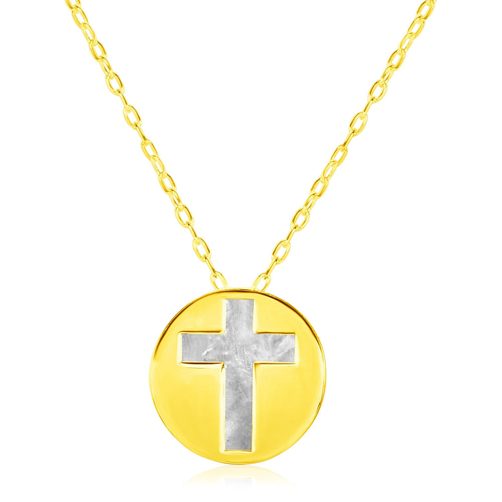 14k Yellow Gold Necklace with Cross Symbol in Mother of Pearl