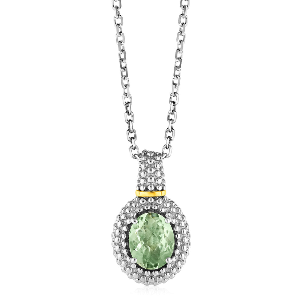 Necklace with Oval Green Amethyst Pendant in Sterling Silver and 18k Yellow Gold