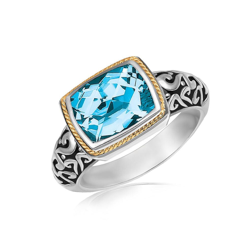 18k Yellow Gold and Sterling Silver Rectangular Blue Topaz Milgrained Ring