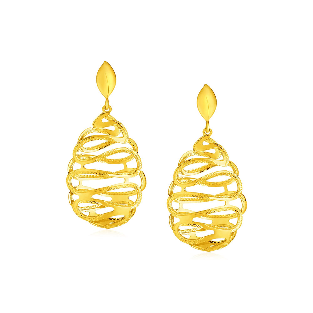 14k Yellow Gold Post Earrings with Textured Wire Spiral Dangles