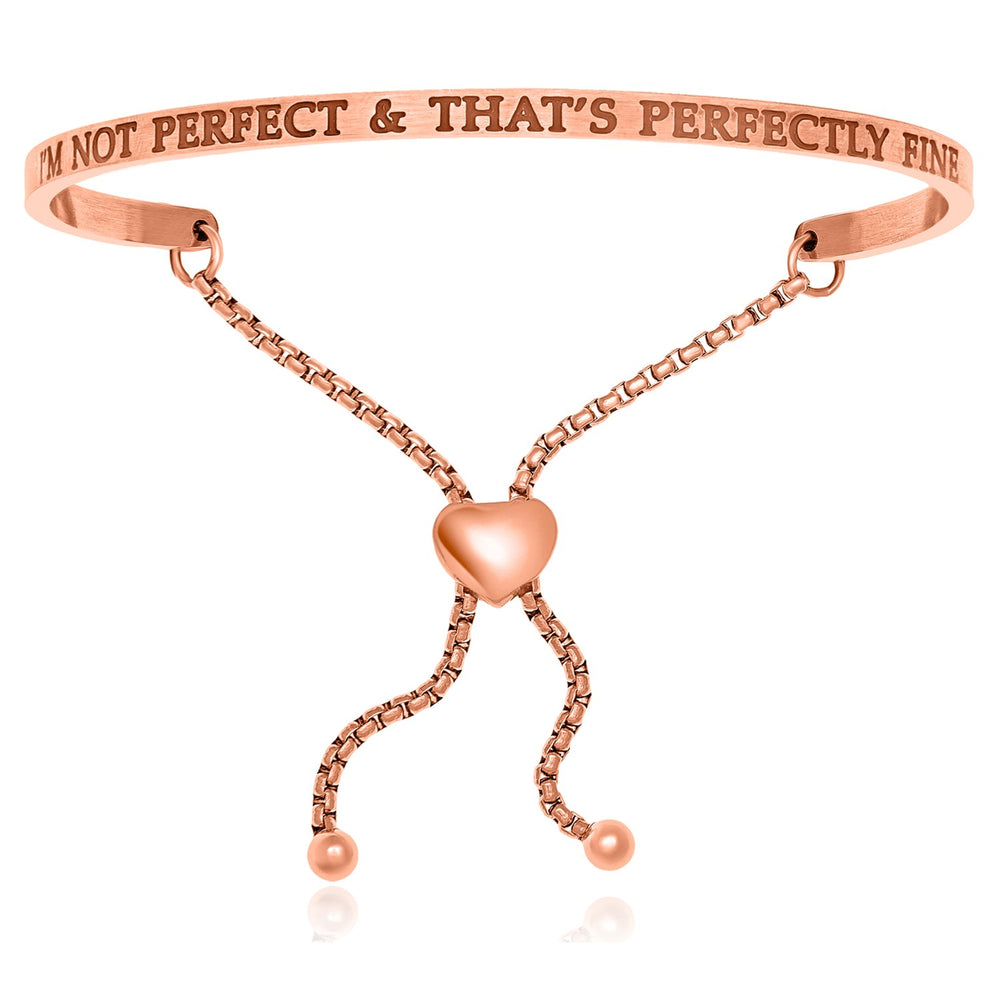 Pink Stainless Steel I am Not Perfect,  And That is Perfectly Fine Bracelet