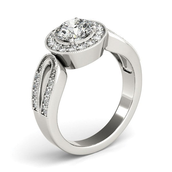 14K White Gold Round with Teardrop Split Band Diamond Engagement Ring (1 1/3 ct. tw.)