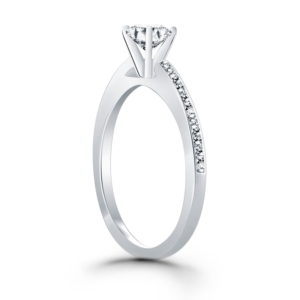14k White Gold Channel Set Cathedral Engagement Ring