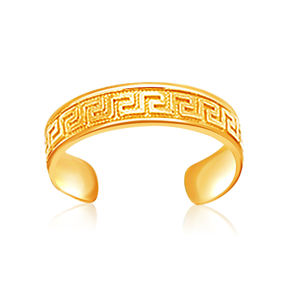 14k Yellow Gold Labyrinth Motif Toe Ring