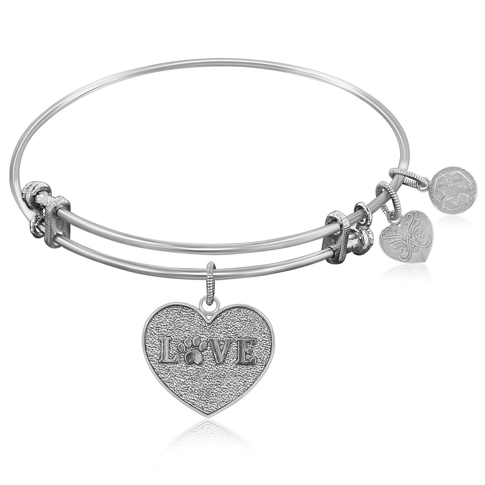 Expandable Bangle in White Tone Brass with Love Symbol