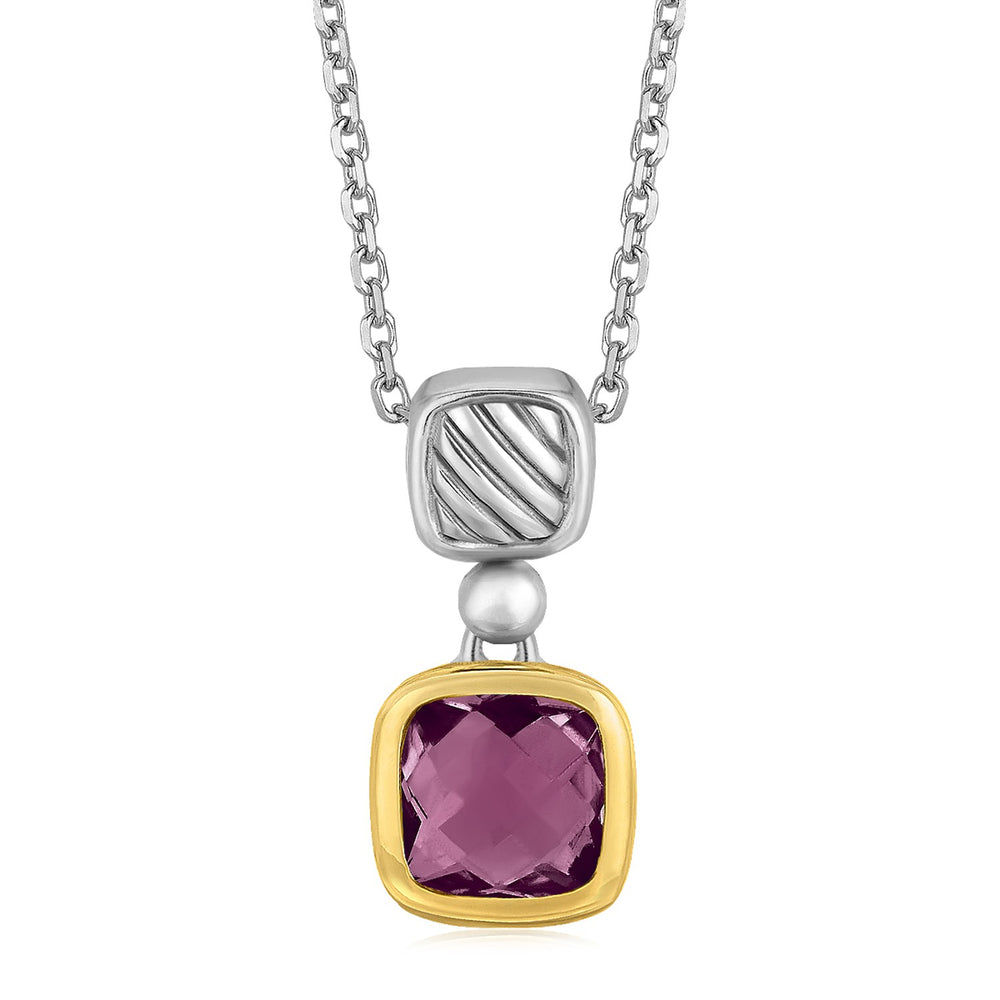 18k Yellow Gold and Sterling Silver Necklace with an Amethyst Pendant