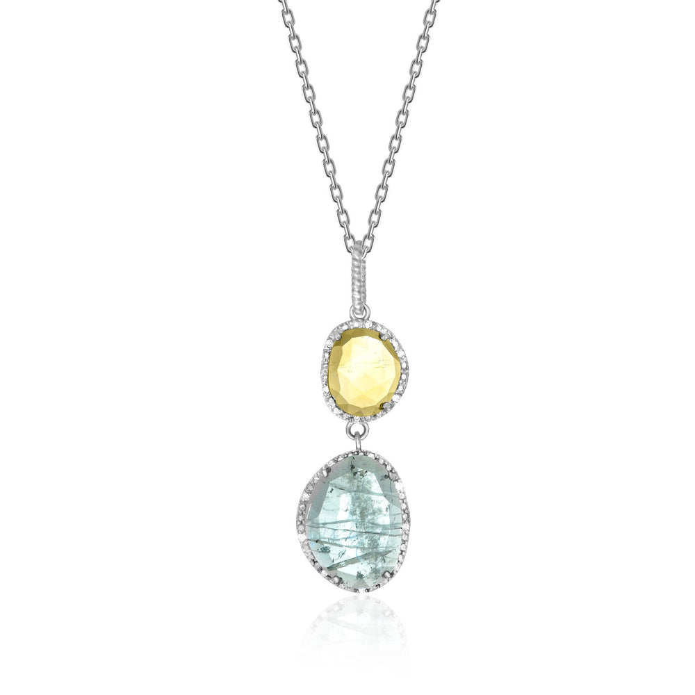 Sterling Silver Layered Blue Topaz,  Citrine,  and Diamond Pendant