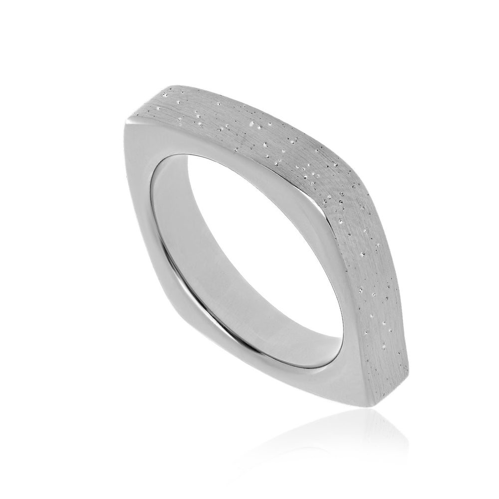 Sterling Silver Stardust Square Form Ring