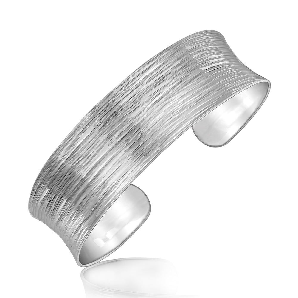 Sterling Silver Rhodium Plated Concave Cuff with Diamond Cuts