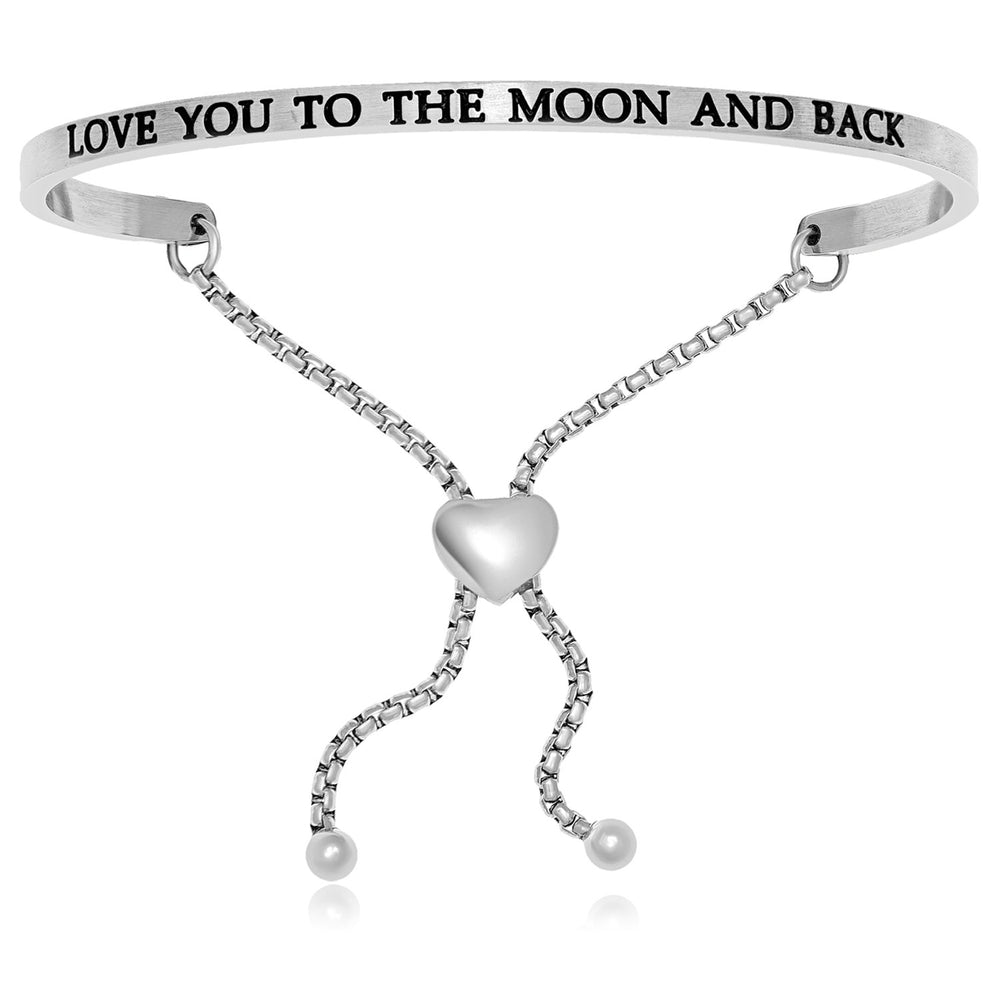 Stainless Steel Love You To The Moon And Back Adjustable Bracelet