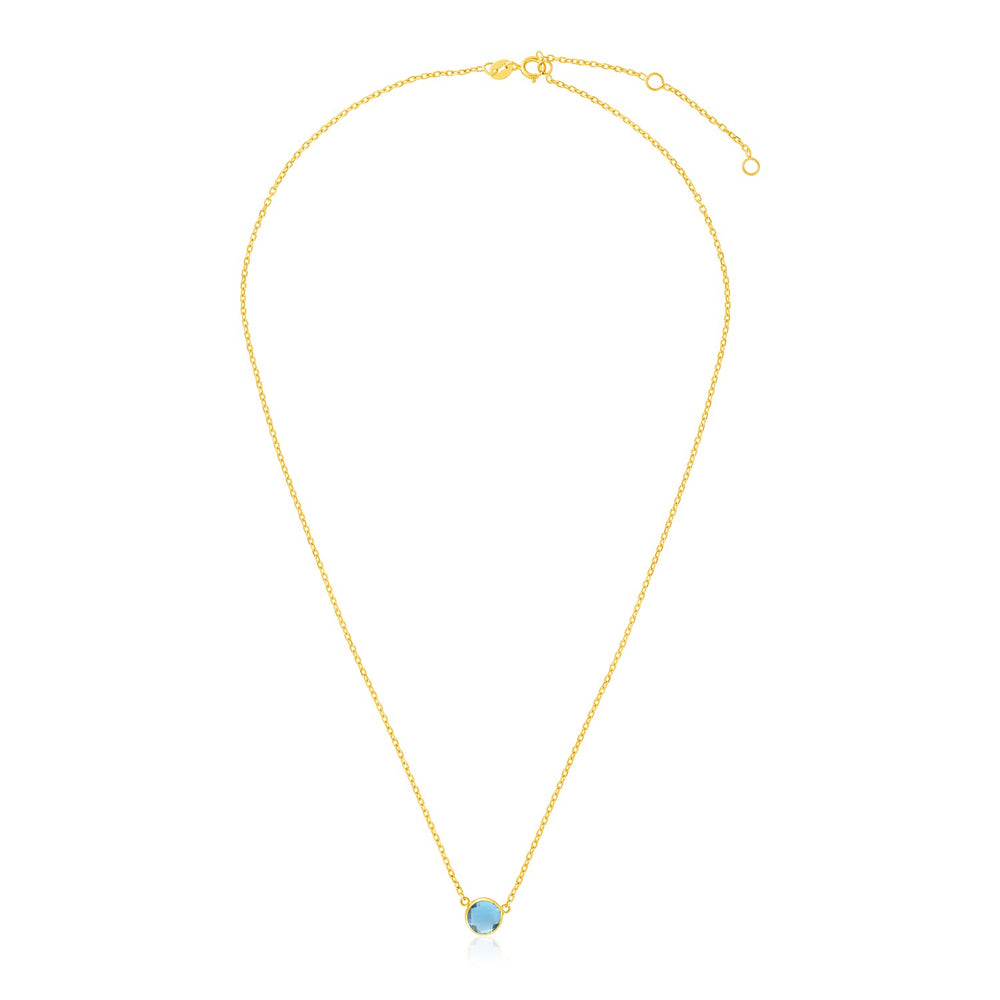 14k Yellow Gold 17 inch Necklace with Round Blue Topaz