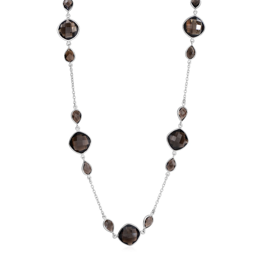 Necklace with Smokey Quartz Stations in Sterling Silver