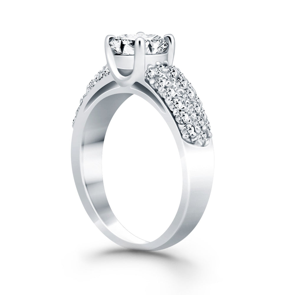 14k White Gold Tapered Pave Diamond Wide Band Engagement Ring