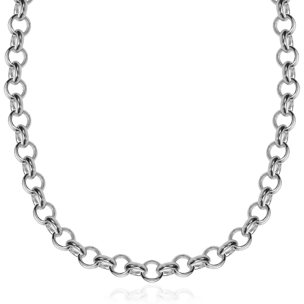 Sterling Silver Rhodium Plated Classic Rolo Chain Necklace