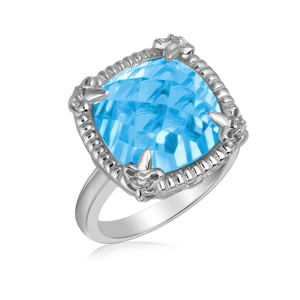 Sterling Silver Sky Blue Topaz and White Sapphires Fleur De Lis Ring