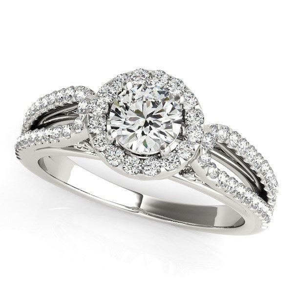 14K White Gold Round Diamond Engagement Ring with Teardrop Split Shank (7/8 ct. tw.)