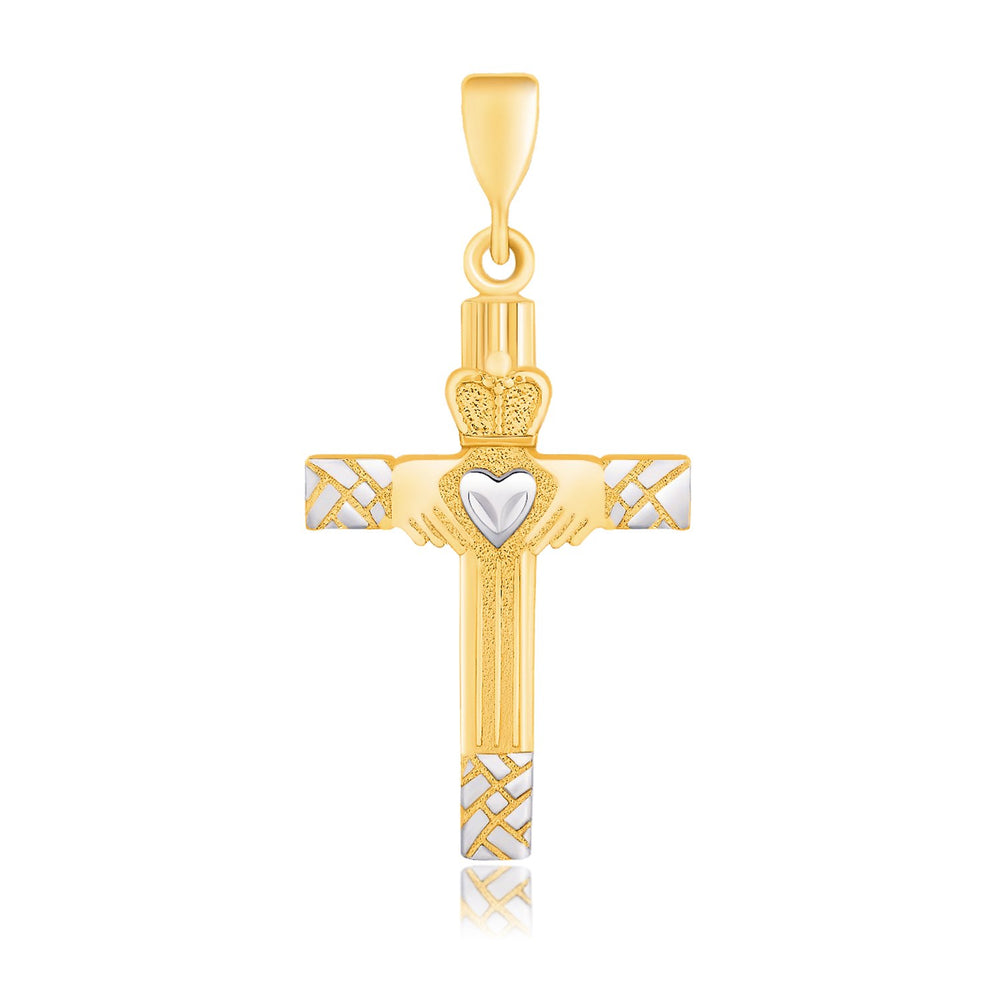 14k Two-Tone Gold Cross Pendant with a Claddagh Motif