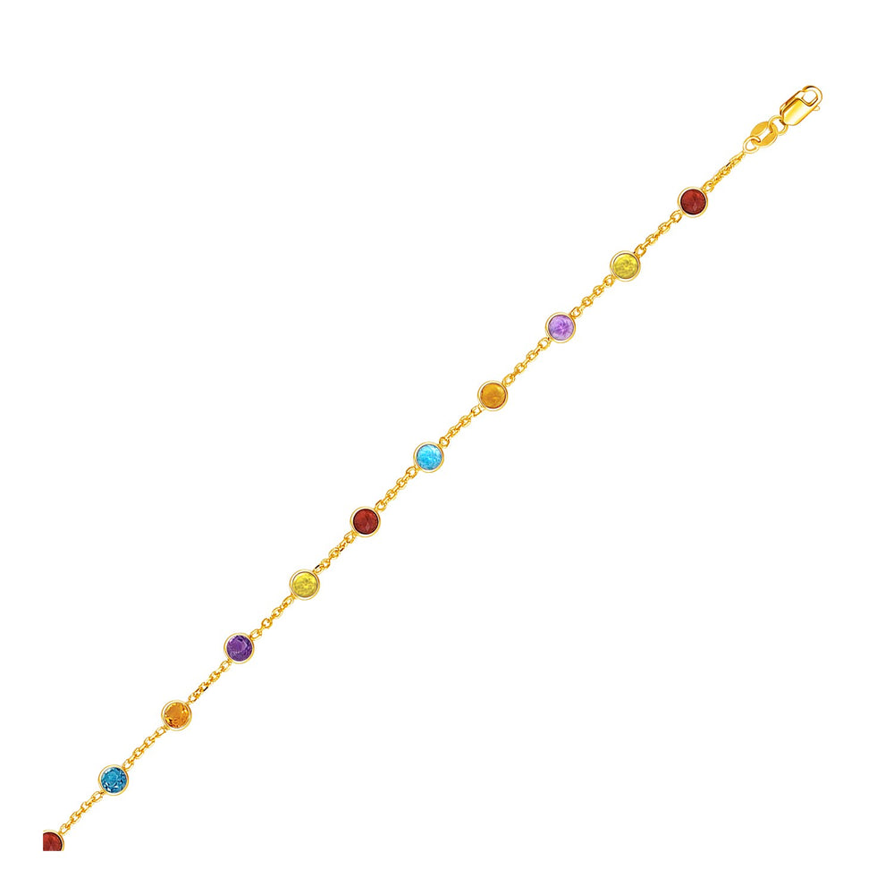 14k Yellow Gold Cable Anklet with Round Multi Tone Stations