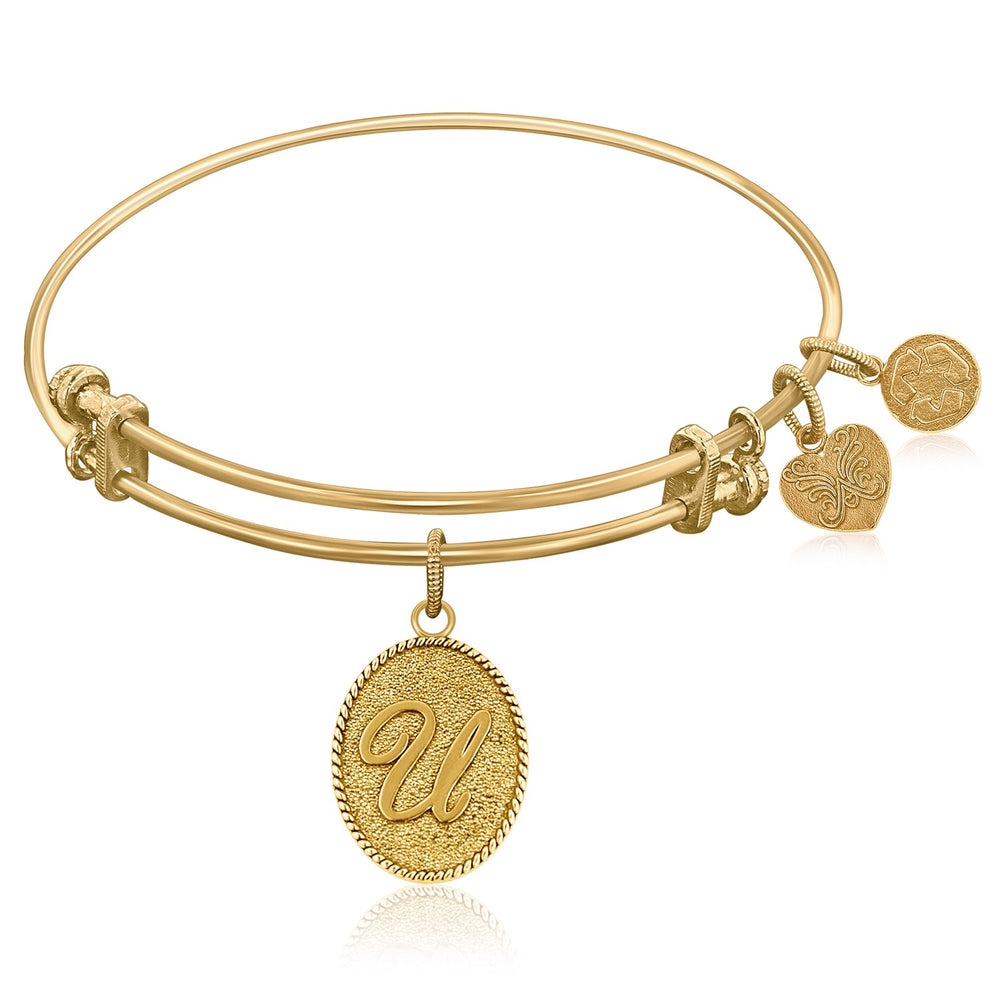 Expandable Bangle in Yellow Tone Brass with Initial U Symbol
