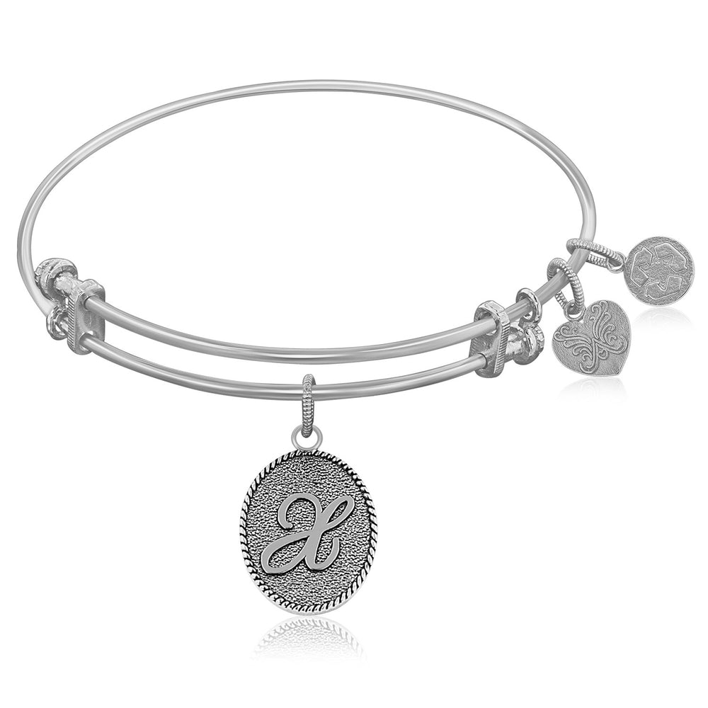 Expandable Bangle in White Tone Brass with Initial X Symbol