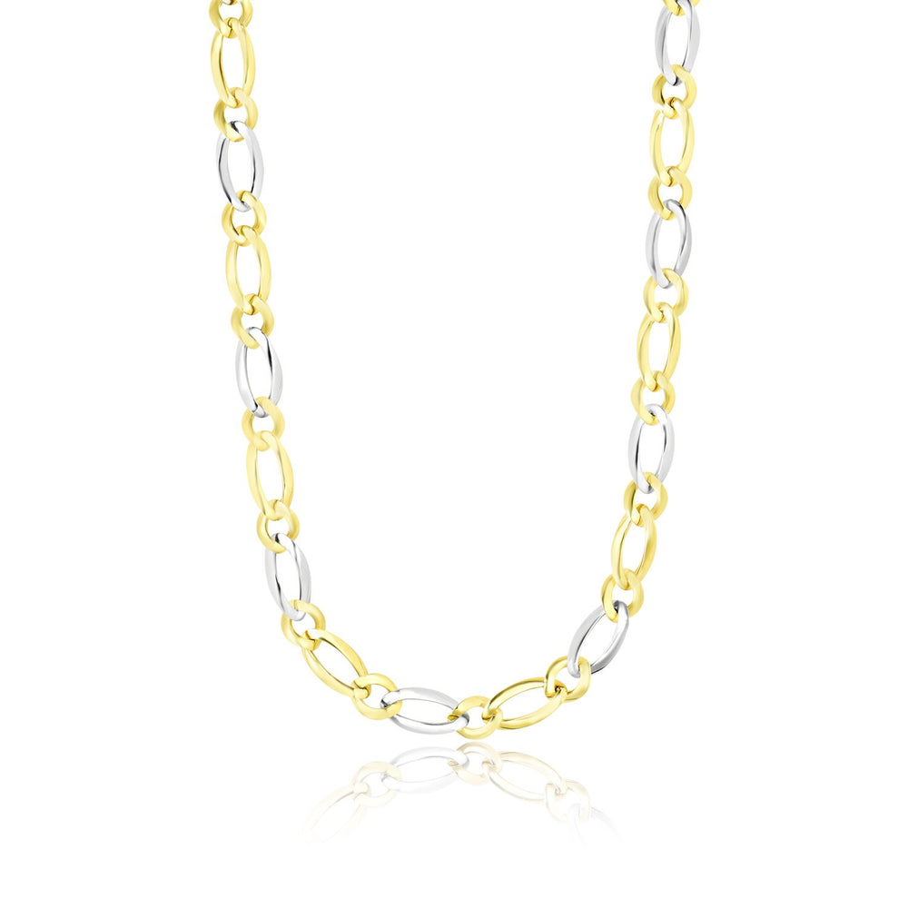 14k Two Tone Gold Long and Short Link Figaro Chain Necklace