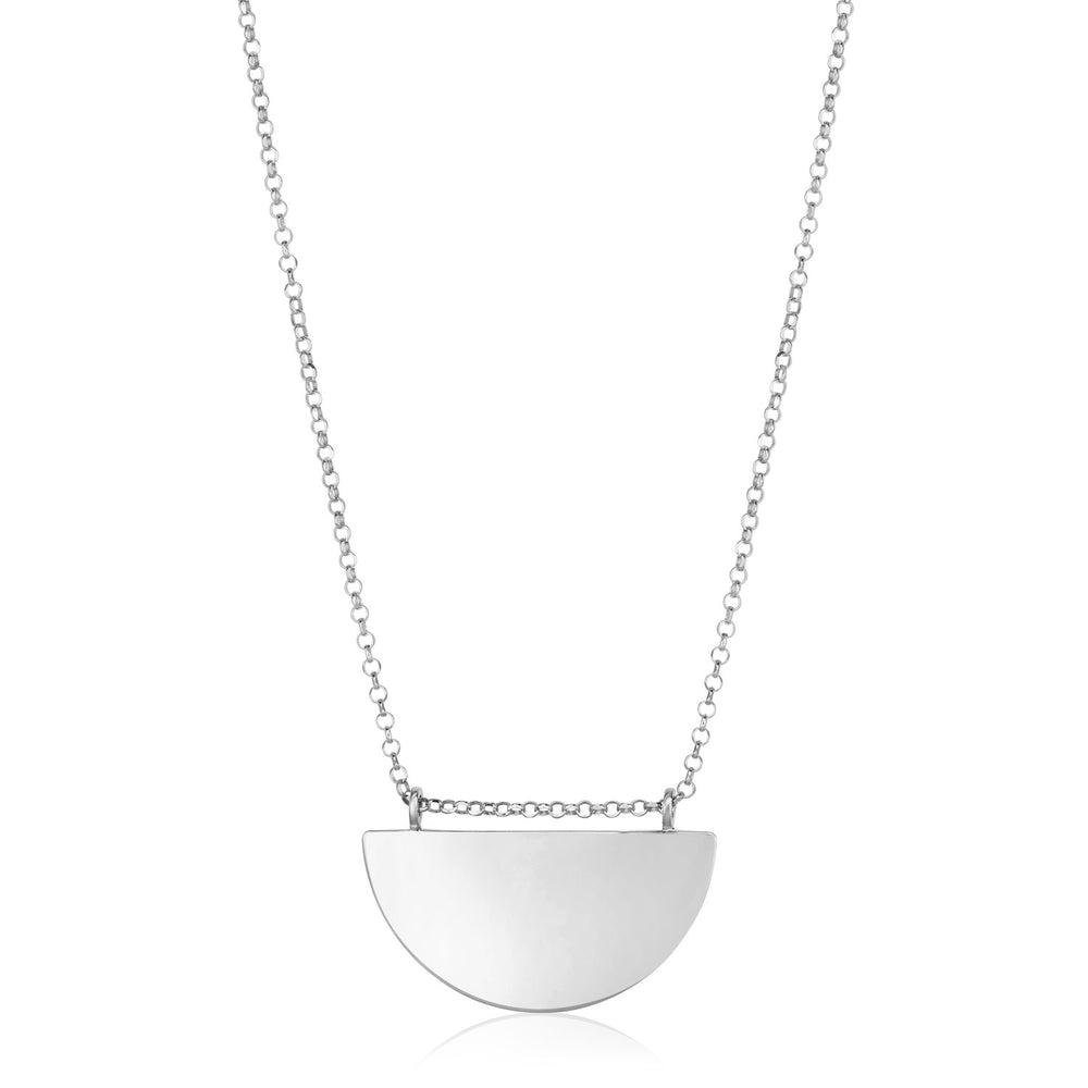 Sterling Silver 18 inch Polished Half Circle Necklace