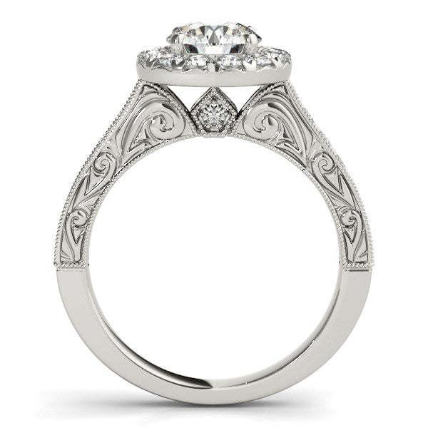 14K White Gold Round Diamond Engagement Ring with Stylish Shank (1 5/8 ct. tw.)
