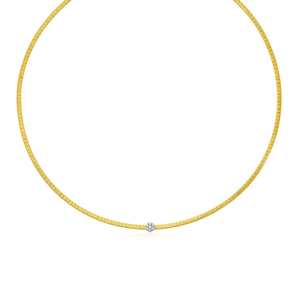 14k Two Tone Gold Necklace with Brushed Texture and Diamonds