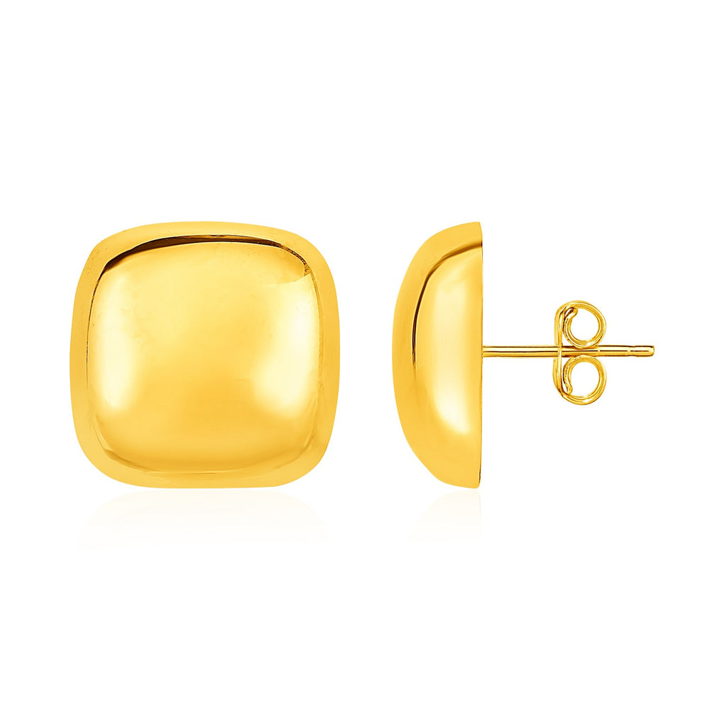 Rounded Square Post Earrings in 14k Yellow Gold