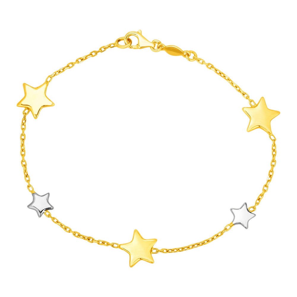 14k Two Tone Gold Bracelet with Polished Stars