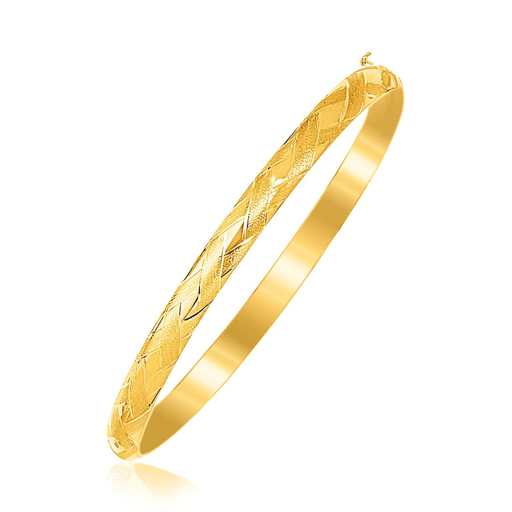 14k Yellow Gold Children's Bangle with Diamond Cuts