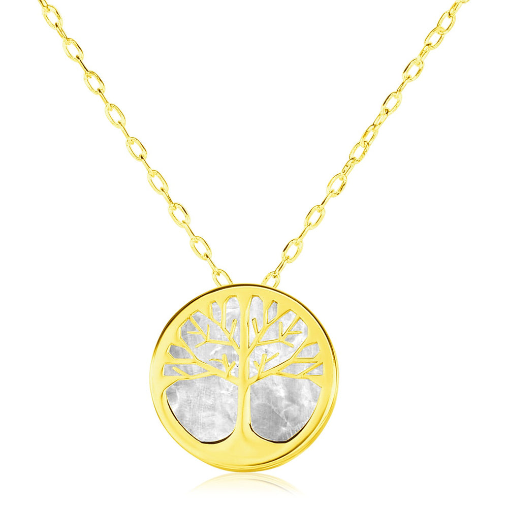 14k Yellow Gold Necklace with Tree of Life Symbol in Mother of Pearl