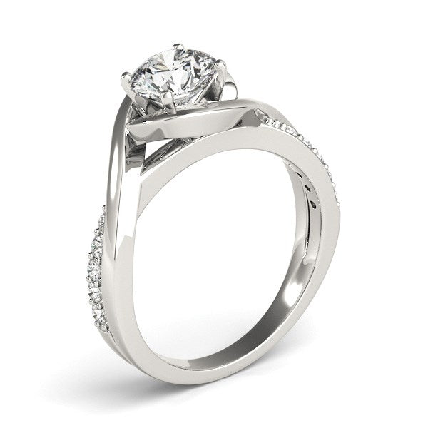14K White Gold Split Band Round Bypass Diamond Engagement Ring (1 1/8 ct. tw.)