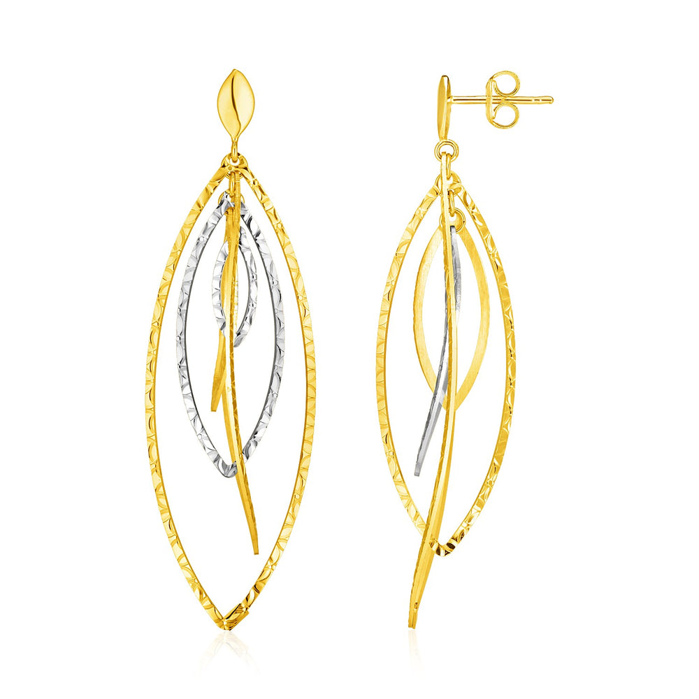 14k Two Tone Gold Textured and Polished Marquise Motif Earrings
