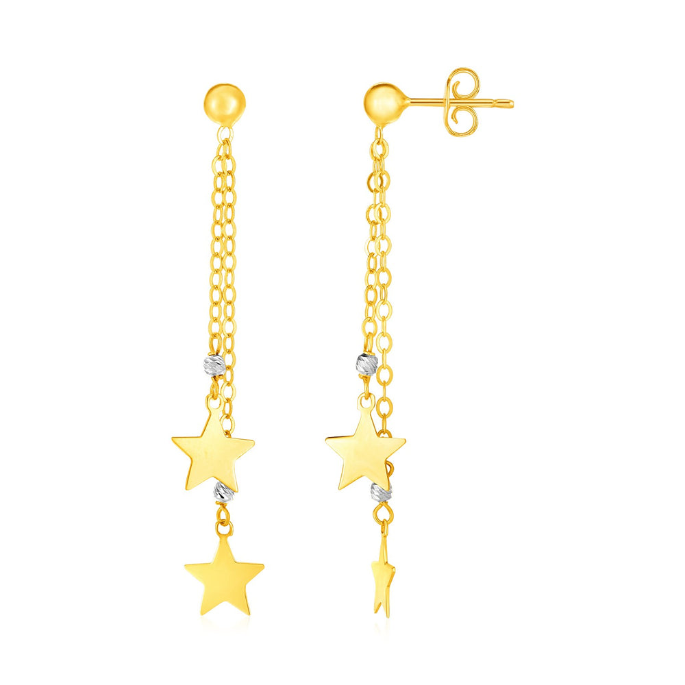 14k Two Tone Gold Drop Earrings with Polished Stars