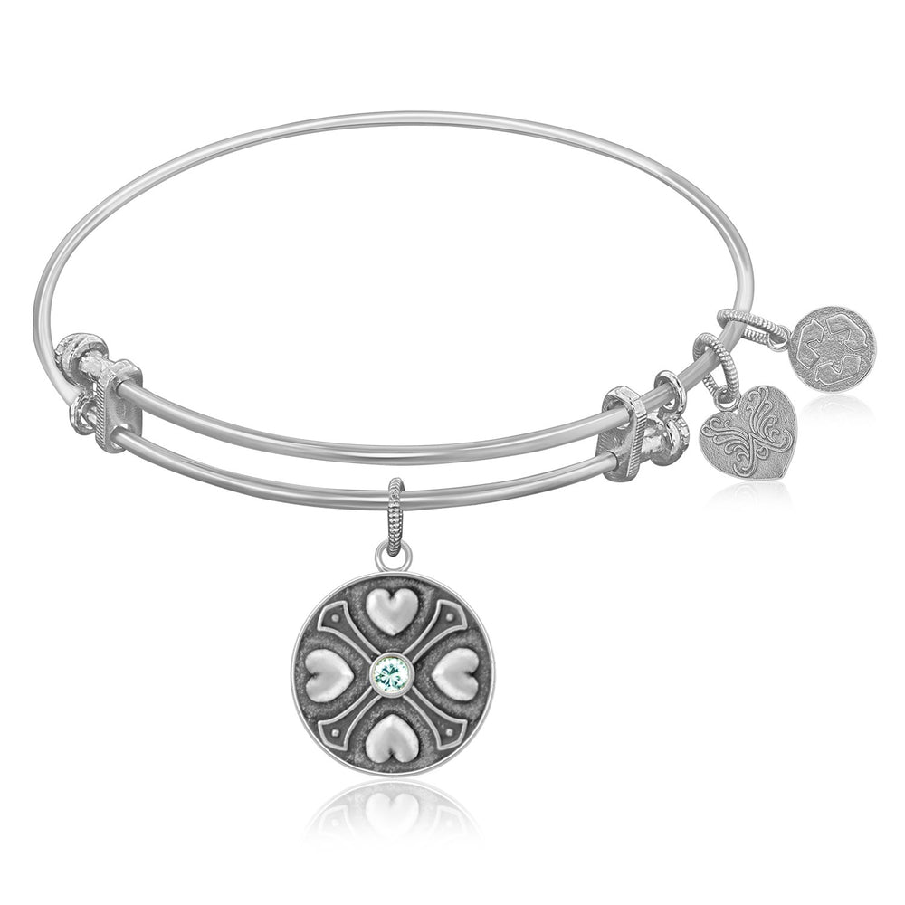Expandable Bangle in White Tone Brass with White Topaz April Symbol