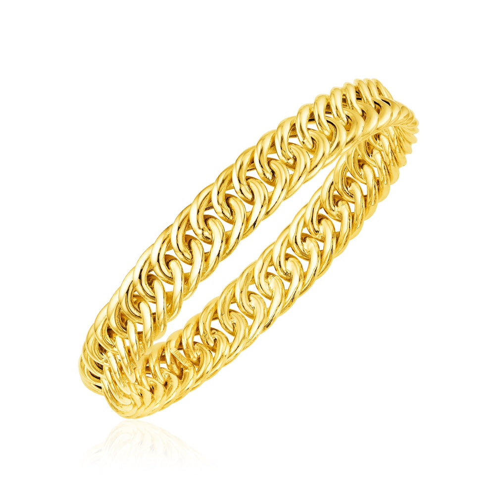14k Yellow Gold Polished Chain Slip On Bangle