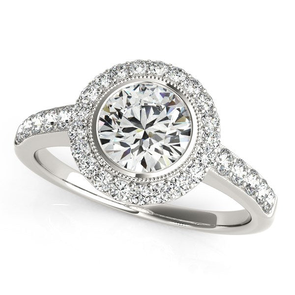 14K White Gold Pave Style Diamond Round Engagement Ring with Side Stones (1 3/8 ct. tw.)