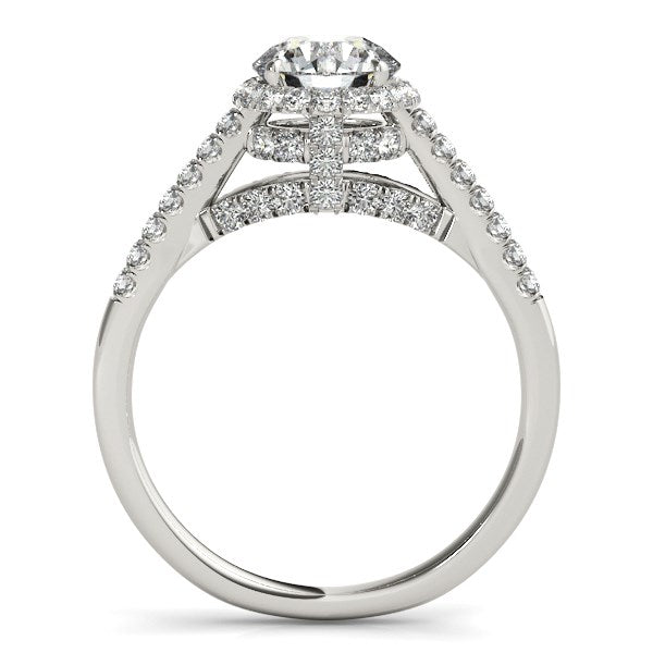 14K White Gold Round Cut Pave Set Shank Diamond Engagement Ring (1 3/8 ct. tw.)