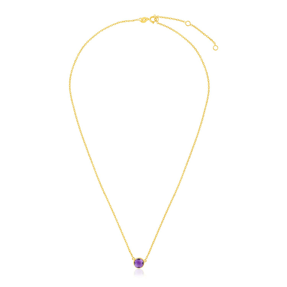 14k Yellow Gold 17 inch Necklace with Round Amethyst