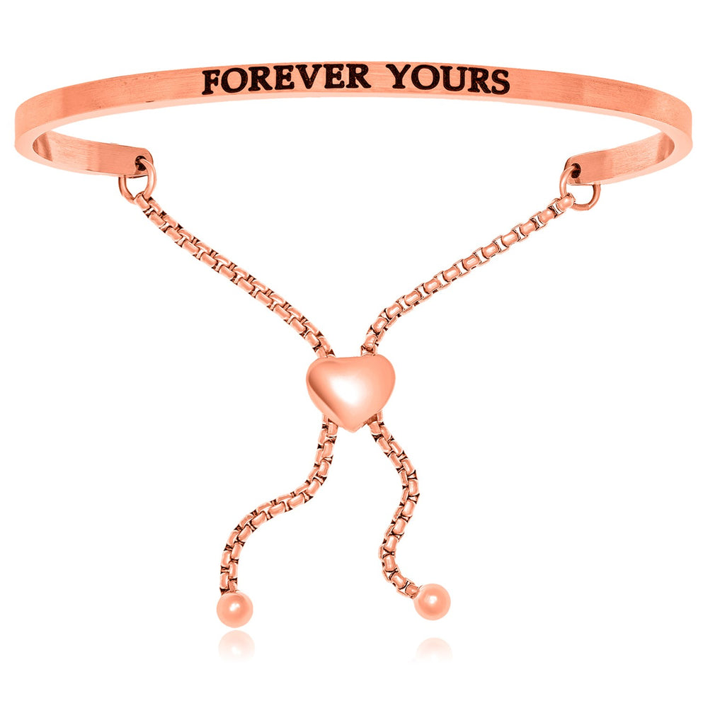 Pink Stainless Steel Forever Yours Adjustable Bracelet