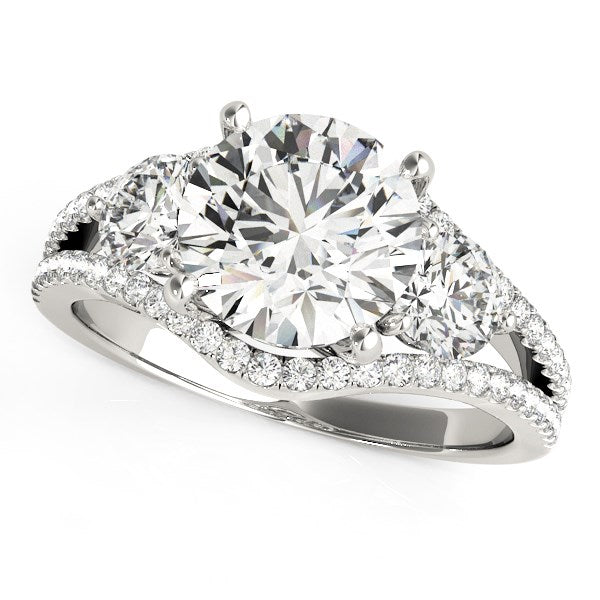 14K White Gold 3 Stone Split Pave Shank Round Diamond Engagement Ring (2 3/4 ct. tw.)