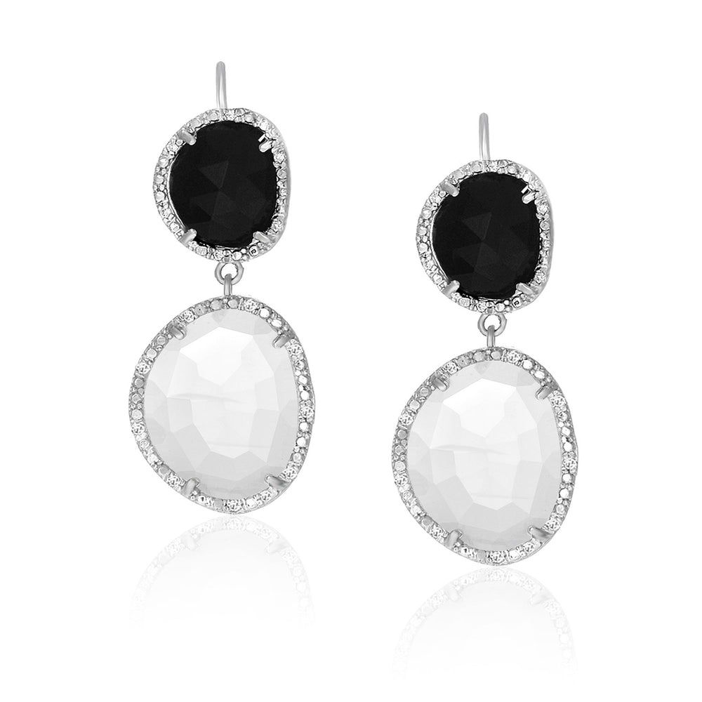Sterling Silver Diamond Accented Moonstone and Black Onyx Earrings