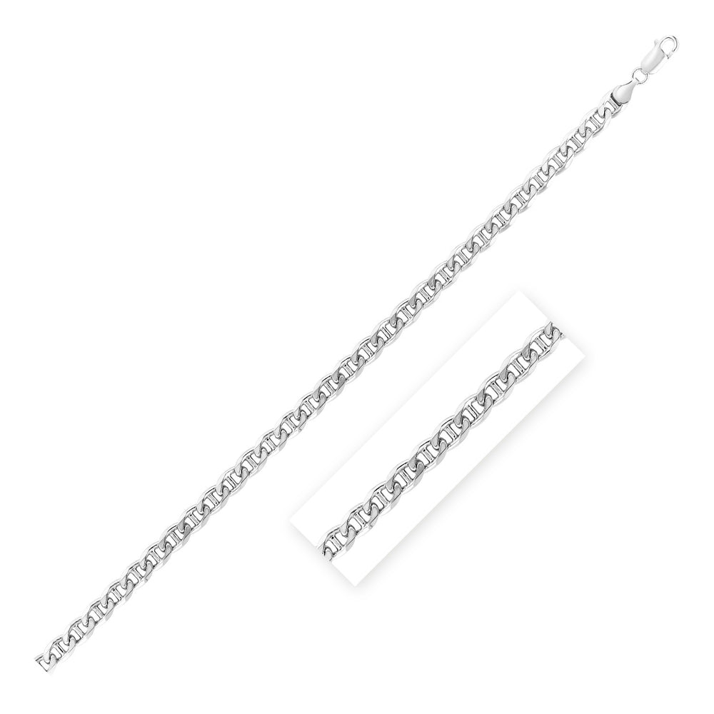 Sterling Silver Rhodium Plated Mariner Chain 6.0mm