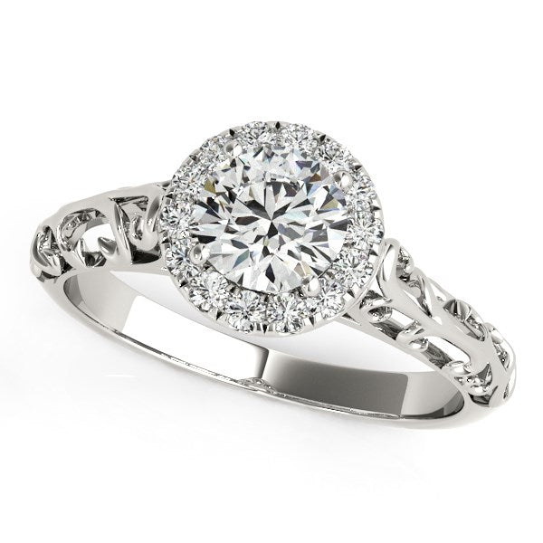 14k White Gold Halo Antique Style Round Diamond Engagement Ring (5/8 cttw)