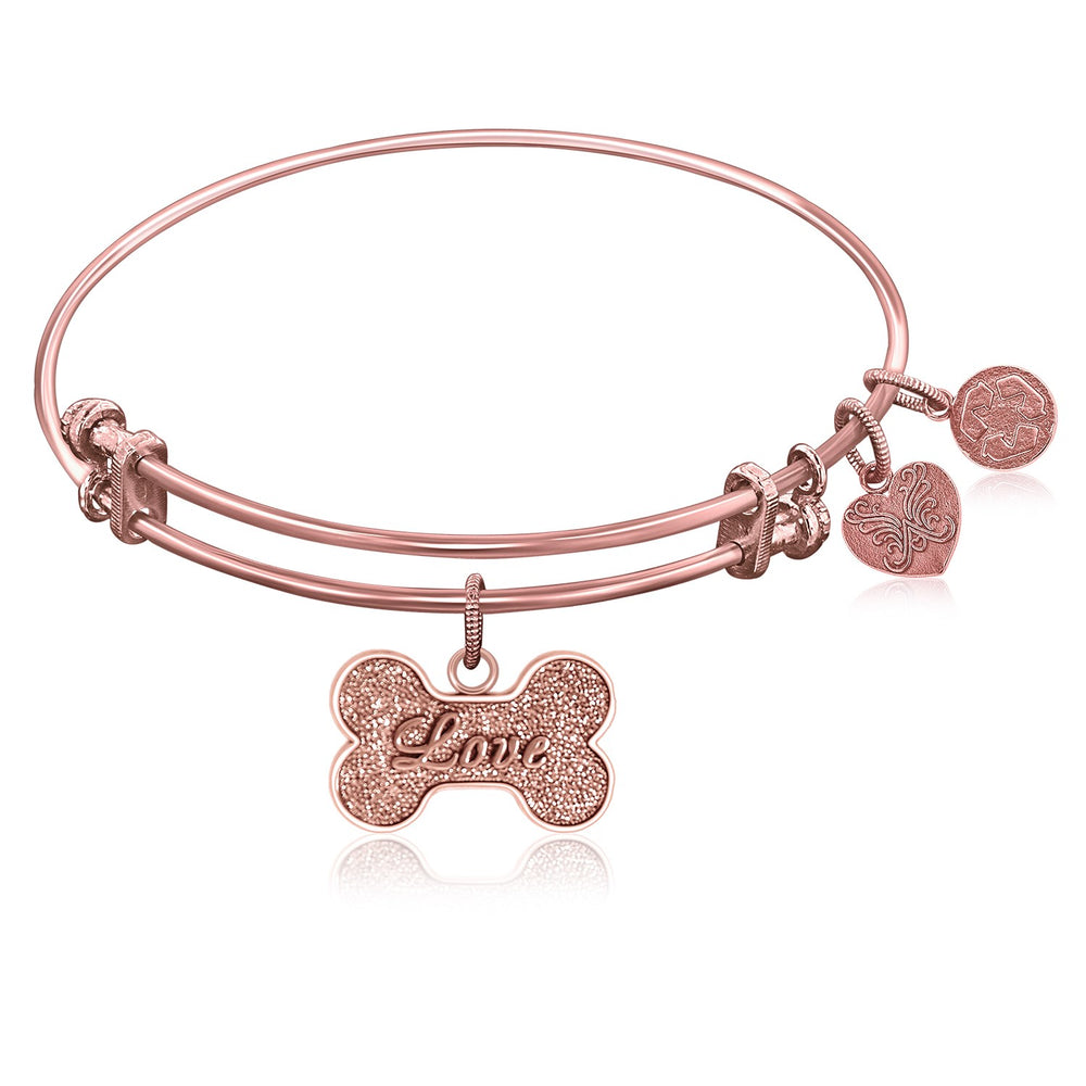 Expandable Bangle in Pink Tone Brass with Dog Bone Symbol