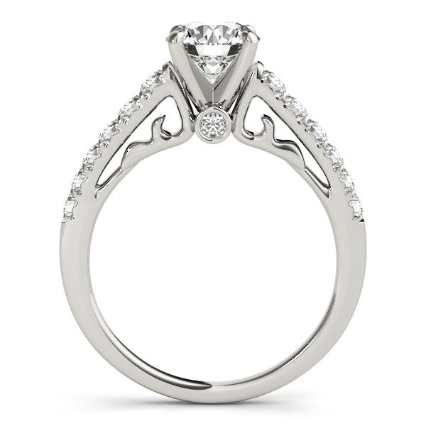 14K White Gold Scalloped Single Row Band Round Diamond Engagement Ring (1 3/8 ct. tw.)