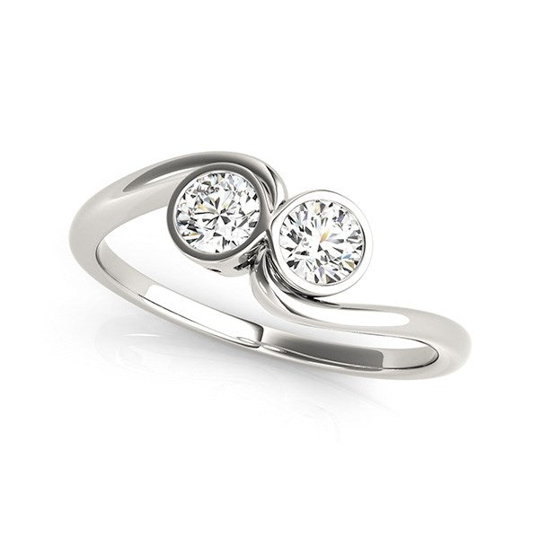 14K White Gold Bezel Set Curved Band Two Stone Diamond Ring (1/2 ct. tw.)
